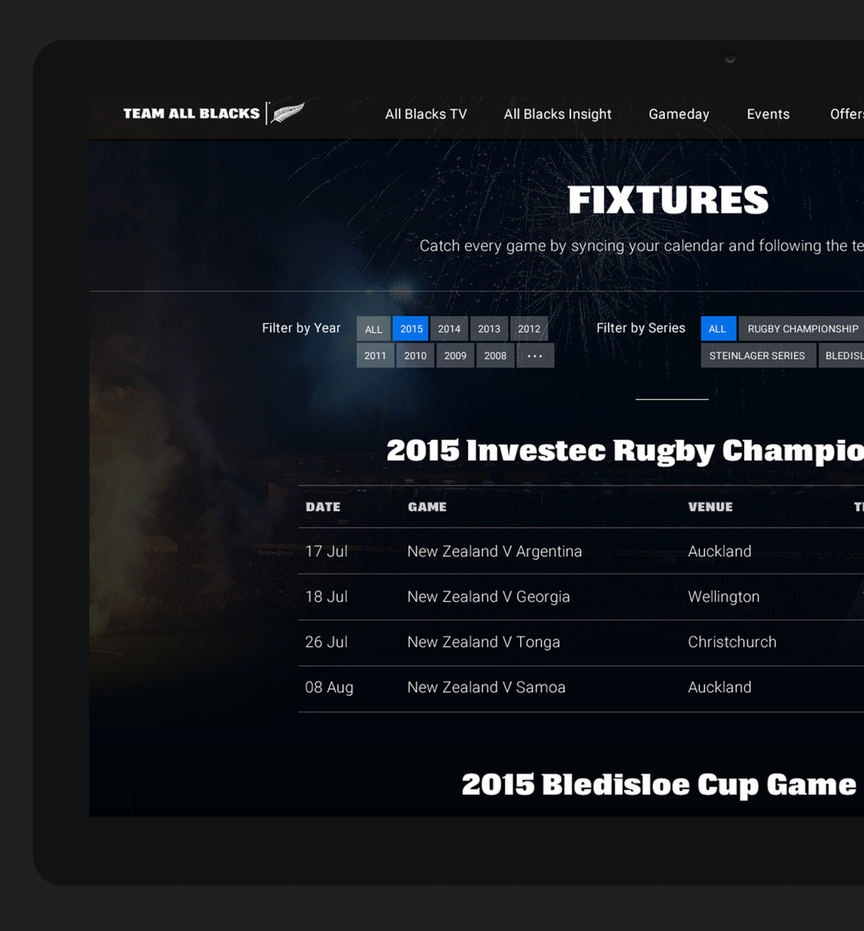 Team All Blacks Fixtures